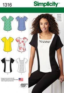 1316 Simplicity Pattern: Misses' Top with Neckline Variations
